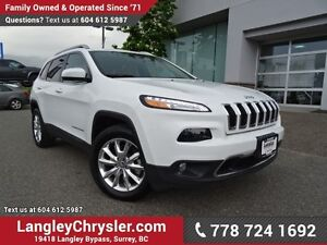 2016 Jeep Cherokee Limited W/ 4X4, LEATHER UPHOLSTERY & HEATE...