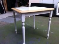 White square wood & ceramic table available ASAP