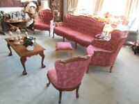 **REDUCED** ANTIQUE Classic Georgian style Five Piece Saloon Suite Button Studded Rose Chenille