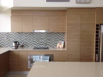 Timber Veneer Kitchen incl Caeserstone Bench tops Alexandra Headland Maroochydore Area Preview