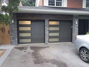 Garage door insulated door with side windows; installed $1249