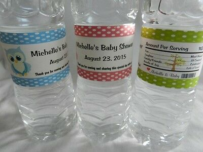 PERSONALIZED OWL THEME BIRTHDAY, BABY SHOWER WATER BOTTLE LABELS, WRAPPERS](Baby Owl Themed Baby Shower)