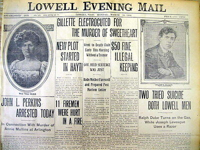 BEST 1908 display newspaper CHESTER GILLETTE EXECUTED Herkimer County NY MURDER
