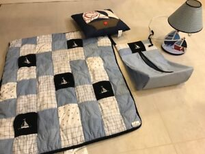 4 pc baby boy bedroom decor: lamp, blanket, diaper sack, pillow