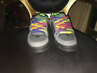 worn once Globe Skater Shoes with rainbow laces as new
