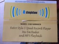 STEEPLETONE RECORD PLAYER - RETRO NORWICH (USB, RADIO - COLLECTION ONLY