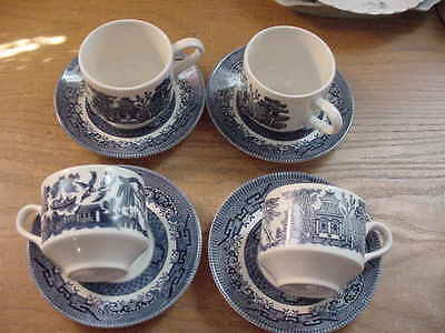 Set of 4 Blue Willow Cups and Saucers,by  Churchill, Made in England, Blue