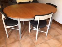 G Plan dining table and four chairs.