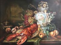 Fine Art Still Life Oil Canvas Painting Of A Red Lobster Signed