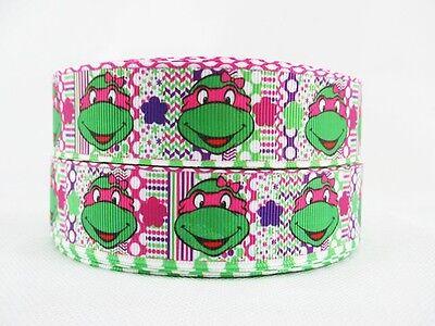 2 METRE NINJA TURTLE RIBBON SIZE 1 INCH BOWS HEADBAND BIRTHDAY CAKES HAIR CLIPS ](Ninja Turtle Ribbon)