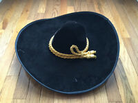 Large Black Calidad Brand Sombrero Mariachi Wide Rimed Black Hat