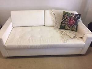MOVING INTERSTATE | Leather Sofabed Double White RRP $4,035 Lilyfield Leichhardt Area Preview