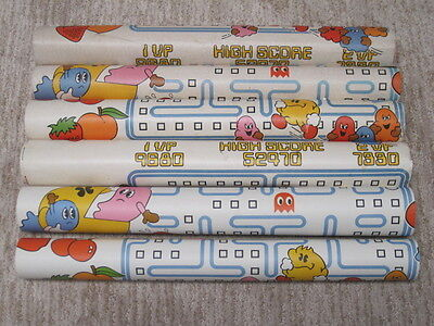 Pac-Man Wallpaper Covering 1980 Arcade Video Game Bally 6 Rolls Vintage Decor