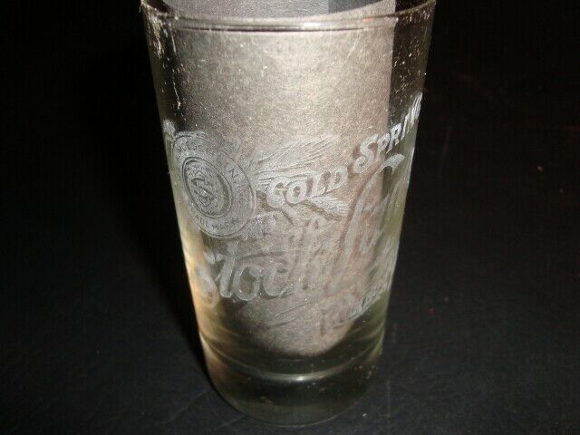 Circa 1910 Cold Spring Stock Lager Etched Glass, Sunbury, Pennsylvania