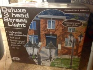 Street Lamp -  3 head, glass globes, 120 V brand new in box