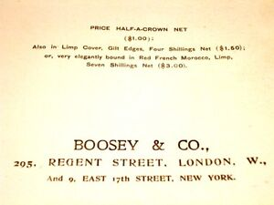 c1901 BASS SONGS Imperial Edition BOOSEY & CO bass songs & piano Kitchener / Waterloo Kitchener Area image 3