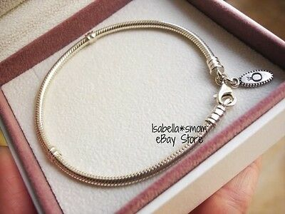 "NEW Authentic PANDORA Charm/Bead SILVER ALE 925 Lobster Clasp Bracelet 9.1""~23cm"