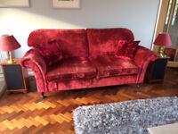 Laura Ashley Sofa, Cushions, Throw & Light shades