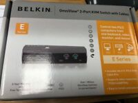 Belkin OmniView 2-Port KVM Switch with Cables