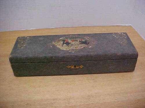 Antique Handkerchief Box with Hunt Scene Fox & Hound Free Ship