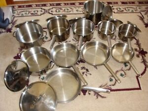 I HAVE A 19 PIECE Paderno Pots & Fry Pans & Stock Pots for Sale: