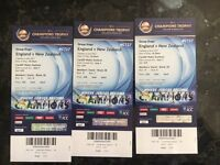 ICC Champions Trophy x3 Gold - England v New Zealand - Cardiff Wales Stadium - LESS than face value!