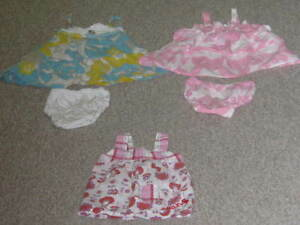 ROXY DRESSES WITH DIAPER COVERS 12M, ROXY SHIRT 12M