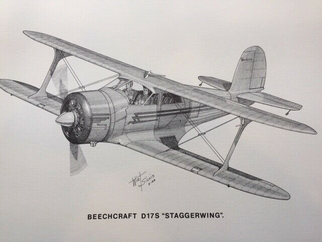 "Wirt Silvis Beechcraft D17S Staggerwing Print Beech 17 x 11"" Aviation Art"