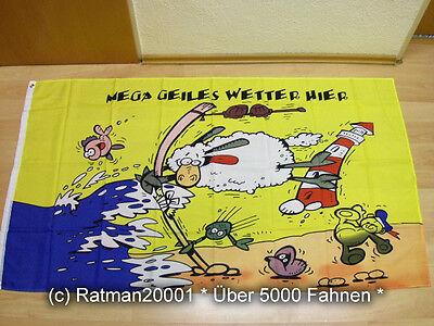 Fahnen Flagge Mega geiles Wetter Schaf - 90 x 150 cm