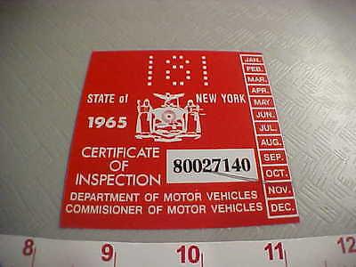 new york 1965 inspection sticker winshild st rod hot rod