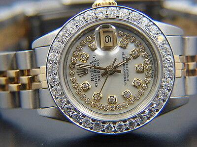 LADIES ROLEX DATEJUST  WATCH 2.3 CT 18 K GOLD STEEL  MOP DIAMOND DIAL , BEZEL