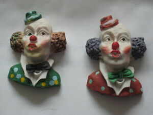 Two Clown Head Fridge Magnets