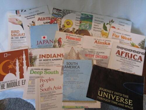 Lot 19 Vintage National Geographic World Maps Alaska Africa Indians Homeschool