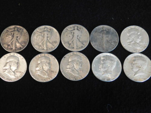 $5 FACE LOT OF (10) WALKING LIBERTY,FRANKLIN, KENNEDY HALF DOLLARS 90% SILVER L4