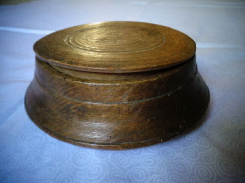 Primitive Antique Hand Turned Wood Cupboard/Spice Bowl With Lid