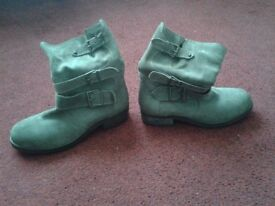 Women's size 6 light brown buckle boots - Used, in good condition