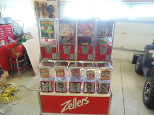 9 GUM BALL VENDING MACHINES W/STAND FROM ZELLERS STORE