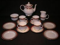 Vintage Tea Set Red,White and Gold.Teapot,milk,sugar,4 cups,saucers and tea plates