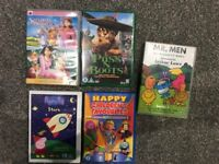 5 Kids DVDs (Mr men, Puss N Boots, Peppa Pig, Bob Builder, Foreman Sam, Barney, Thomas etc)