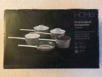 Sainsbury's Home Hard Anodised Saucepan Set 5 piece – NEW & UNUSED IN ORIGINAL PACKAGING