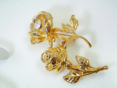 Rhinestone Gold Tone Rose Brooch Duo Vintage 80s Pretty  - 80s Duos Costumes