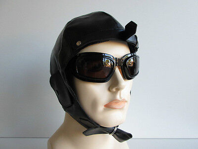 AVIATOR HELMET GOGGLES PILOT STEAMPUNK VINTAGE WWII FIGHTER COSTUME HAT - Aviator Goggles Costume