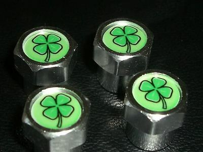 LUCKY IRISH IRELAND SHAMROCK BIKE & CAR TYRE VALVE CAPS