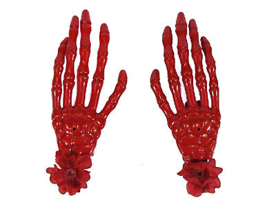 Scary Halloween Clips (Hairy Scary Red Skeleton Halloween Hades Hands w Red Hair Clip)