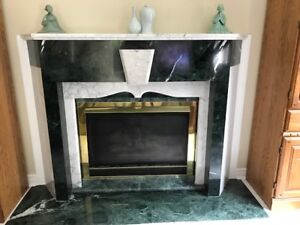 Green and White Marble Fireplace