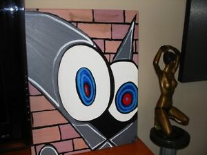 ABSTRACT FELIX the CAT Original Oil Painting on Canvas – signed