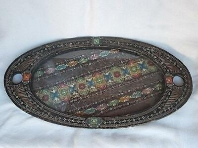 396 / EARY 20TH CENTURY HAND CARVED AND HAND PAINTED WOODEN TRAY