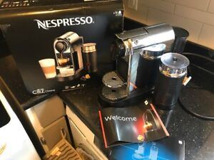 Nespresso Chrome Machine with Milk Frother + pods - Barely Used