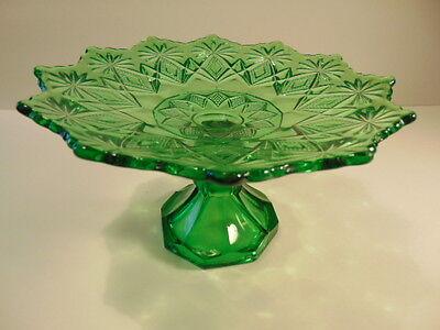 Older green pressed glass pedestal dish