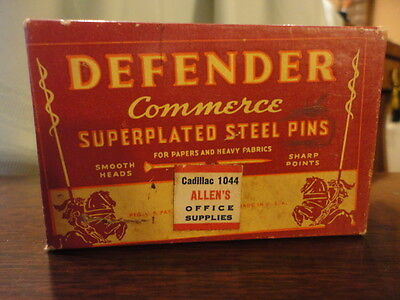 Defender Steel Pins Advertising and Full Box #4 Sewing Milinary Vintage